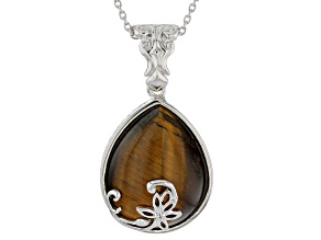 Pre-Owned Brown tiger's eye rhodium over sterling silver enhancer with chain