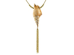 Pre-Owned Multicolor Shell 14k Gold Over Brass & Gold Tone Seashell Necklace