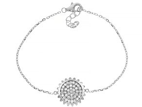 Pre-Owned White Cubic Zirconia Rhodium Over Sterling Silver Sunflower Bracelet 0.90ctw (0.58ctw DEW)