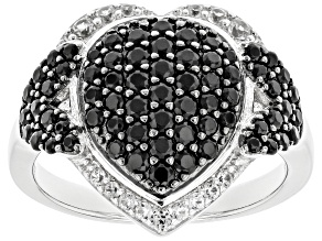 Pre-Owned Black spinel Rhodium Over Silver Ring 1.25ctw