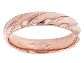 Pre-Owned 18K Rose Gold Over Sterling Silver Symmetric Design Band Ring