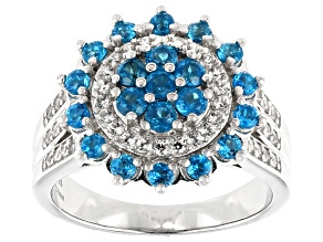 Pre-Owned Blue Neon Apatite Rhodium Over Sterling Silver Ring 1.35ctw