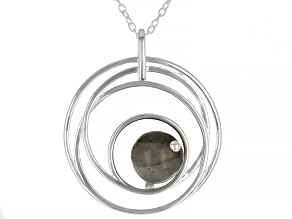 Pre-Owned Labradorite Rhodium Over Sterling Silver Pedant With Chain 4.0ctw