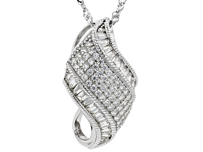 Pre-Owned White Cubic Zirconia Rhodium Over Sterling Silver Pendant With Chain 2.26ctw
