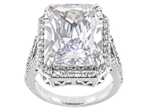 Pre-Owned White Cubic Zirconia Rhodium Over Sterling Silver Ring 25.64ctw