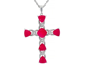 Pre-Owned Pink Onyx Rhodium Over  Sterling Silver Cross Enhancer With Chain