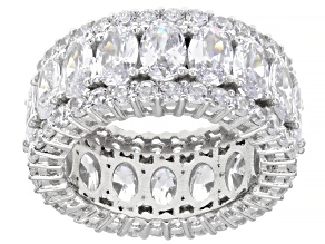 Pre-Owned White Cubic Zirconia Rhodium Over Sterling Silver Eternity Band Ring 16.49ctw