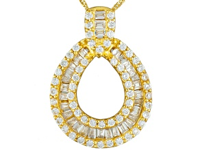 Pre-Owned White Cubic Zirconia 18k Yellow Gold Over Sterling Silver Pendant With Chain 1.61ctw
