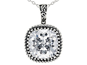 Pre-Owned White Cubic Zirconia Rhodium Over Sterling Silver Pendant With Chain 11.01ctw