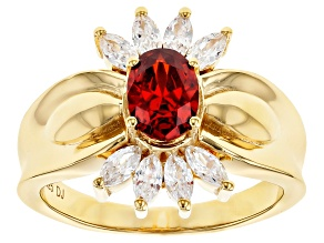 Pre-Owned Red and White Cubic Zirconia 18k Yellow Gold Over Sterling Silver Ring 2.24ctw