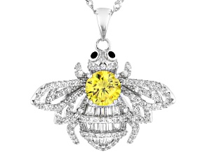 Pre-Owned Black, White, and Yellow Cubic Zirconia Rhodium Over Sterling Silver Bee Pendant With Chai