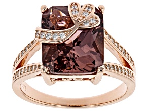 Pre-Owned Blush Zircon Simulant And White Cubic Zirconia 18K Rose Gold Over Sterling Silver Ring 6.0