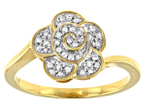 Pre-Owned White Diamond 14k Yellow Gold Over Sterling Silver Floral Ring 0.10ctw