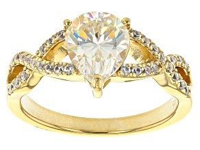 Pre-Owned Fabulite Strontium Titanate and white zircon 18k yellow gold over sterling silver ring 2.2