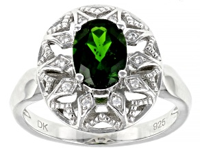 Pre-Owned Green Chrome Diopside Rhodium Over Sterling Silver Ring 1.23ctw