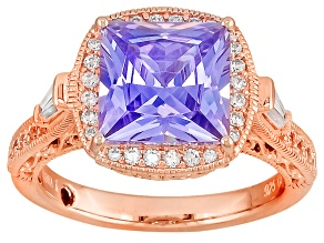 Pre-Owned Purple And White Cubic Zirconia 18k Rose Gold Over Silver Ring 6.57ctw