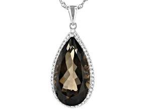 Pre-Owned Brown Smoky Quartz Rhodium Over Silver Pendant With Chain 12.81ctw