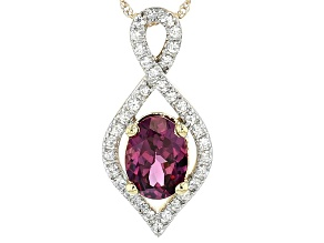 Pre-Owned Grape Color Garnet 10k Gold Pendant With Chain .91ctw
