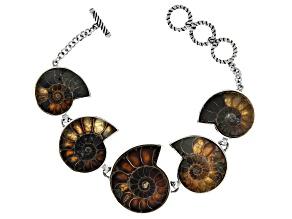 Pre-Owned Brown Ammonite Shell Sterling Silver Bracelet