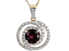Pre-Owned Grape Garnet 10k Yellow Gold Pendant With Chain 2.54ctw