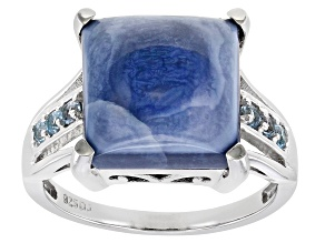 Pre-Owned Blue Opal Rhodium Over Sterling Silver Ring .13ctw