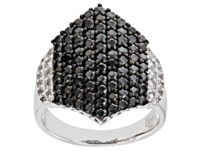 Pre-Owned Black Spinel Rhodium Over Sterling Silver Ring. 2.38ctw