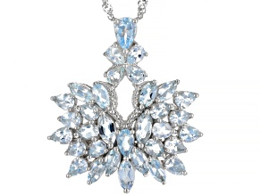 Pre-Owned Blue Aquamarine Rhodium Over Silver Pendant with Chain 4.57ctw