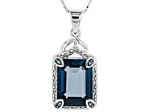 Pre-Owned London blue topaz  rhodium over sterling silver pendant with chain 12.82ctw