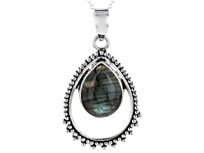 Pre-Owned Gray Labradorite Pendant With Chain
