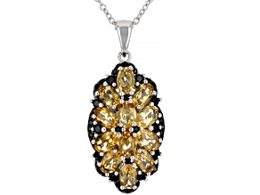 Pre-Owned Golden Citrine Rhodium Over Silver Pendant With Chain 5.10ctw