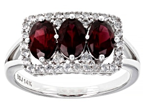 Pre-Owned Red Garnet Rhodium Over 14k White Gold Ring 1.73ctw