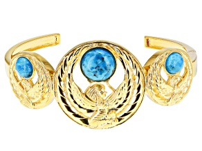 Pre-Owned Turquoise 18k Yellow Gold Over Brass Egyptian Ma'at Design Cuff Bracelet
