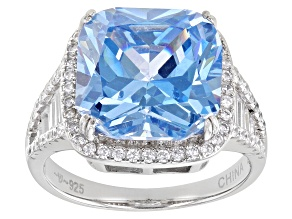 Pre-Owned Blue And White Cubic Zirconia Rhodium Over Sterling Silver Ring 11.48ctw