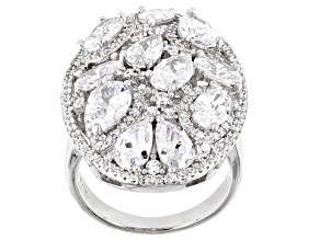 Pre-Owned White Cubic Zirconia Rhodium Over Sterling Silver Ring 8.28ctw