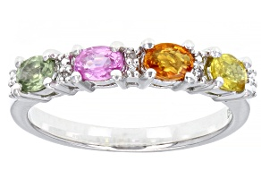 Pre-Owned Multi Color Sapphire Rhodium Over Sterling Silver Ring. 0.86ctw