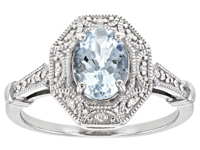 Pre-Owned Blue Aquamarine Rhodium Over Sterling Silver Ring 0.87ctw