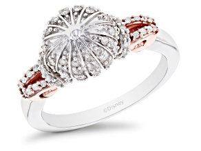 Pre-Owned Enchanted Disney Cinderella Carriage Ring White Diamond 10k White And Rose Gold 0.50ctw