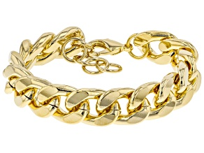 Pre-Owned Moda Al Massimo ® 18k Yellow Gold Over Bronze Curb Chain Bracelet