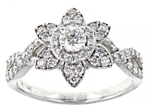 Pre-Owned White Lab-Grown Diamond 14k White Gold Engagement Ring 0.83ctw