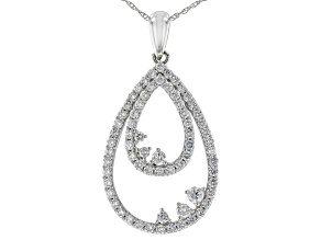 """Pre-Owned White Lab-Grown Diamond 14K White Gold Pendant With An 18"""" Singapore Chain 0.86ctw"""