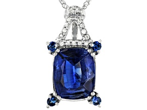 Pre-Owned Blue Kyanite Rhodium Over 14k White Gold Pendant With Chain 4.16ctw