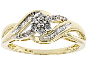 Pre-Owned White Diamond 10k Yellow Gold Cluster Ring 0.20ctw