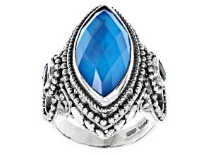 Pre-Owned Blue Paraiba Color Quartz Triplet Silver Ring 0.62ctw