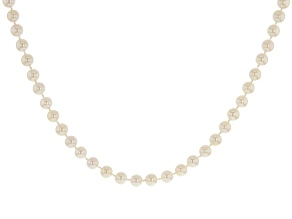 Pre-Owned 6-6.5mm White Cultured Japanese Akoya Pearl Rhodium over Sterling Silver 18 inch Strand Ne
