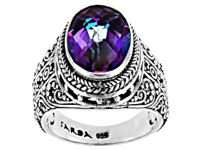 Pre-Owned 4.76ct Blue Jay Jazz™ Mystic Quartz Sterling Sterling Silver Ring