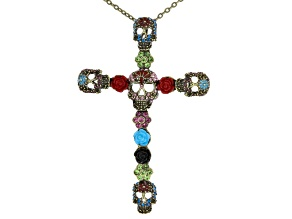 Pre-Owned Multicolor Crystal Multicolor Enamel Antiqued Gold Tone Day Of The Dead Pin/Pendant With C