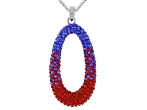 Pre-Owned  Crystal Red And Blue Oval Pendant With Chain