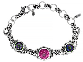 Pre-Owned Pure Pink™ Topaz And Odyssey Green™ Quartz Silver Bracelet 14.23ctw