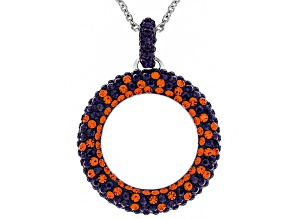 Pre-Owned Crystal Orange And Purple Circle Pendant With Chain