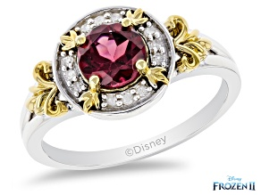 Pre-Owned Enchanted Disney Anna Ring Red Garnet & Diamond Rhodium & 14K Yellow Gold Over Silver 1.42